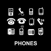Old phones, smartphone, retro, communication icons, signs set, vector — Stock Vector