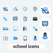 School, education icons, signs set, vector — Stock Vector