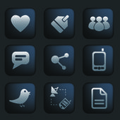 Social media black buttons & icons set, vector — Stock Vector