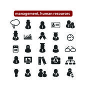 Human resources, management organization icons, signs set, vector — Stock Vector