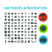 100 travel, recreation icons set, vector — Vettoriale Stock