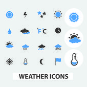 Weather, climate, sky icons, signs set, vector — Stock Vector
