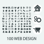 Classic black web design icons set, vector — Stock Vector