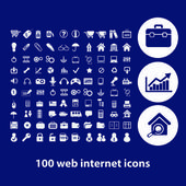 100 website internet icons — Stock Vector