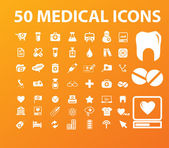 50 medical icons set, vector illustration — Stock Vector