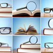 Постер, плакат: Composite image of glasses resting over books