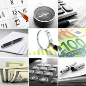 Composite of nine images of office themes — Stock Photo