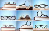 Composite image of glasses resting over books — Stock Photo