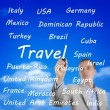 Mwriting names of travel destinations — Stockfoto #27542861