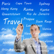 Man writing the names of travel destinations — Stock Photo #27542949