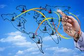 Mappa virtuale di una rete sociale internazionale — Foto Stock