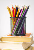 Pencils in basket — Stock Photo