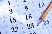 Lápis sobre um calendário — Foto Stock