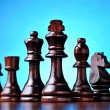 Retro wooden chess pieces — Stock Photo
