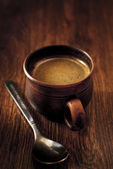 Cup of hot espresso coffee — Stock Photo