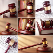 Set of images of the gavel — Stock Photo