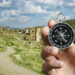 Musing compass while sightseeing abroad — Stock Photo #38640141