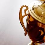 Gold trophy award close up — Stock Photo #48476071