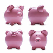 Porcelain piggy banks in four different positions — Stock Photo