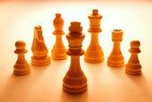 Wooden White Chess Pieces Set — Stock Photo