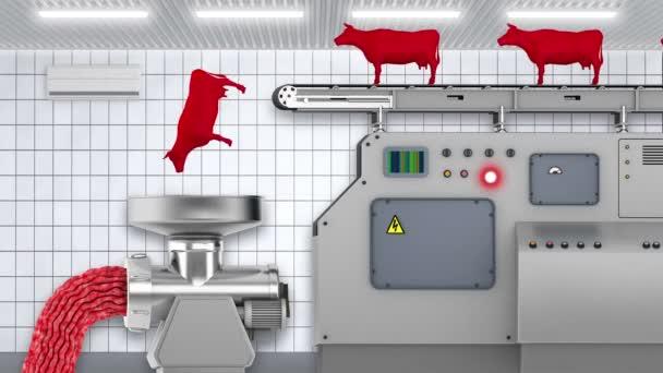 Planta de procesamiento de carne — Vídeo de stock
