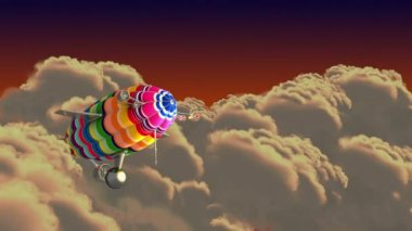 Colorful airship in the clouds. Introductory splash with green screen. — Stock Video
