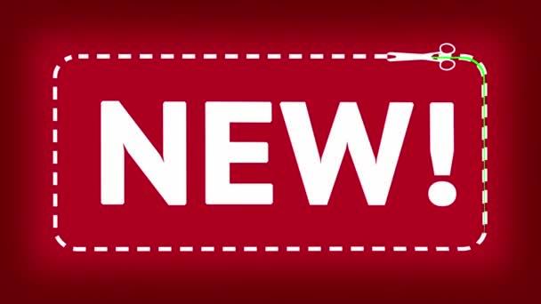 « nouveau » - intro avec des ciseaux. écran vert — Vidéo