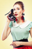 Girl answering the shoe call — Stock Photo