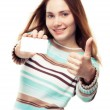 Showing business card and thumb up — Stock Photo