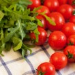 Tomatoes and arugula on towel — Stock Photo #14165064