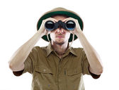 Explorer looking through binoculars — Foto de Stock