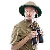 Explorer holding dürbün — Stok fotoğraf