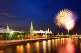 Fireworks over the Moscow Kremlin — Stok fotoğraf