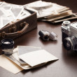 Old photos and photo equipment — Stock Photo