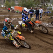 MX two riders competing in the rotation — Stock Photo