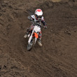 Boy racer MX track at the turn of earth — Stock Photo #14262237