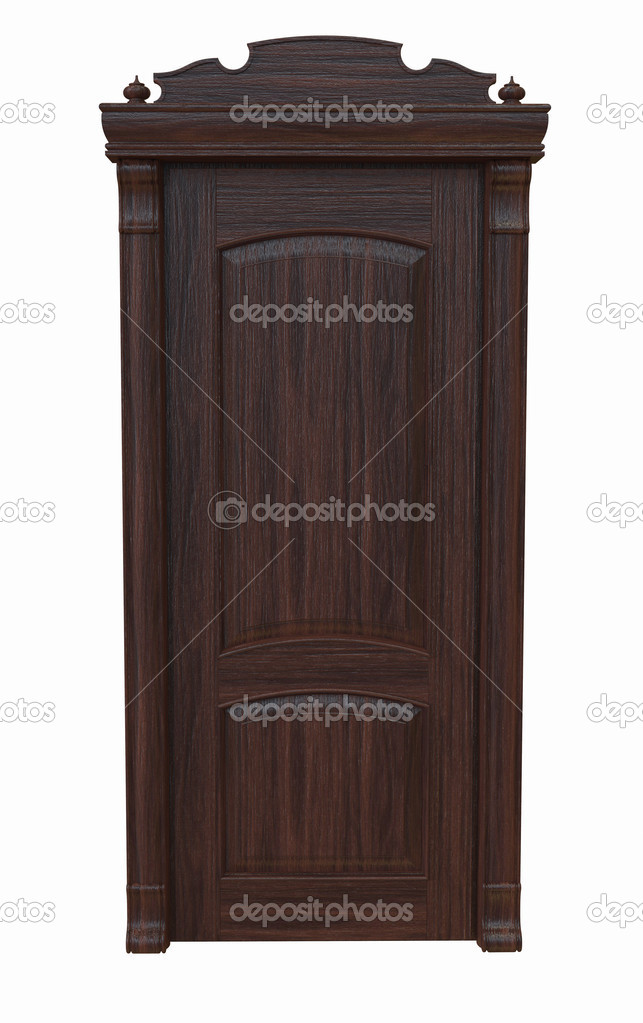 Dark wooden door on a white background  Stock Photo #17374023