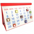 Calendar with icons — Stock Photo