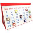 Calendar with icons — Stock Photo #27414883
