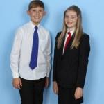 Two schoolchildren — Stock Photo