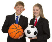 Two Happy Students Holding Ball — Stock Photo