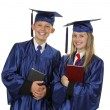 Two Happy Students Holding Books — Stockfoto #25950969