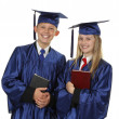 Foto Stock: Two Happy Students Holding Books