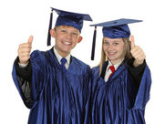 Two Students Showing Thumb Up Sign — Stock Photo