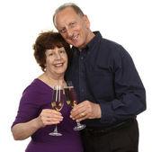 Senior Couple Toasting Champagne Glass — Stock Photo