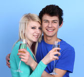 Couple Embracing Holding Champagne Glass — Stock Photo