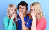 Portrait Of Happy Three Friends Drinking Champagne — Stock Photo