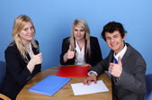 Businessman And Businesswoman Showing Thumb Up — Stock Photo