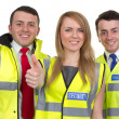 Stock Photo: Three security guards with thumbs up sign, isolated on white