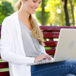Royalty-Free Stock Photo: Blonde looking at laptop